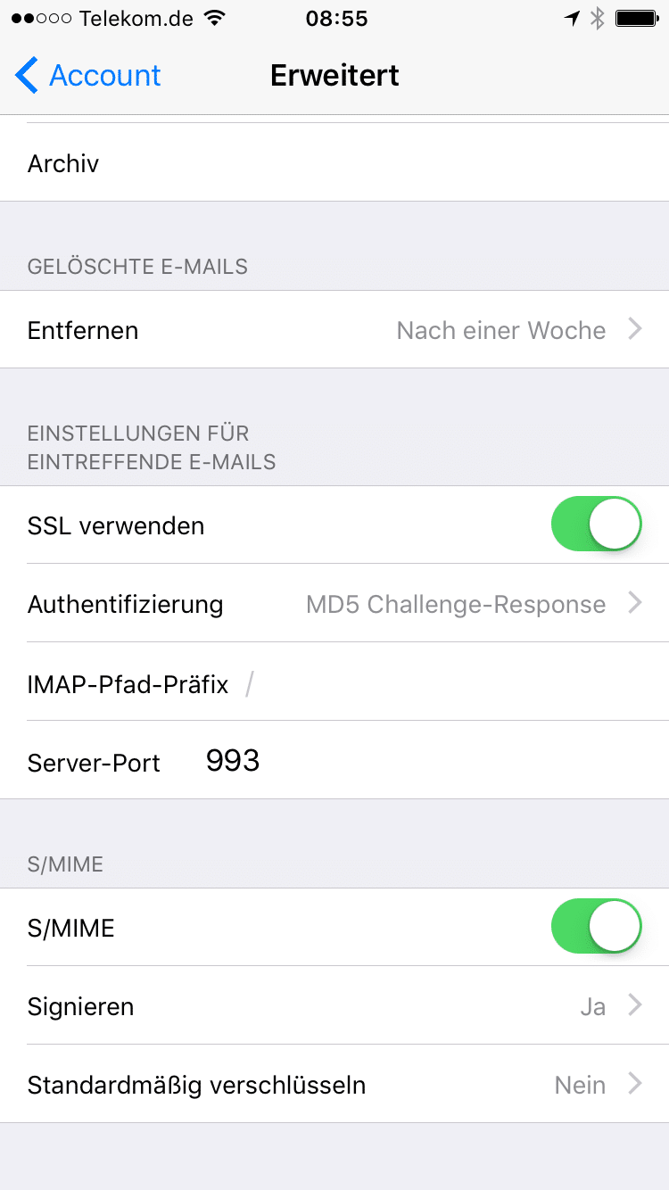 Ansicht Einstellungen unter iOS