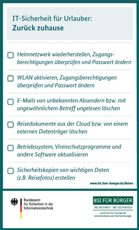 Checkliste des BSI zur IT-Sicherheit nach dem Urlaub