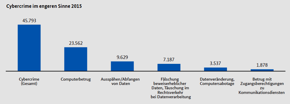 Anzahl der Cybercrime Taten 2015 nach PKS (Quelle: BKA)