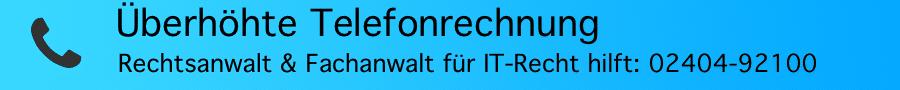 """Keine Haftung des Anschlussinhabers bei nicht autorisierter Nutzung des Telefonanschlusses für ein """"Pay by Call-Verfahren"""" - Rechtsanwalt Ferner Alsdorf"""