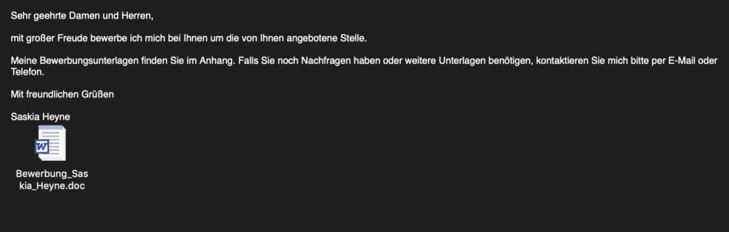 Bewerbungsmail mit Schadsoftware - Ferner: Rechtsanwalt für Strafrecht, Verkehrsrecht, IT-Recht Aachen