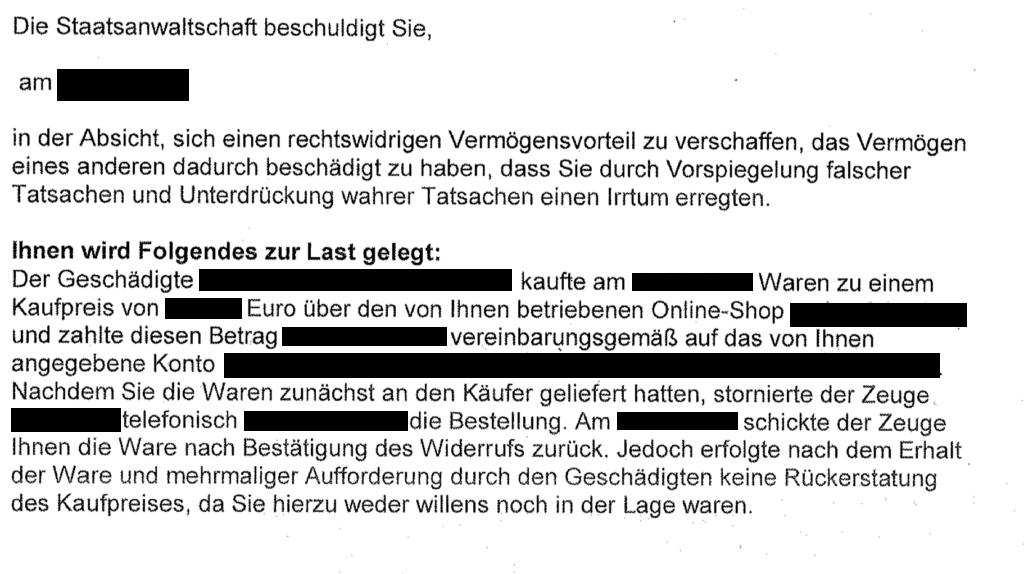 Kein Betrug wenn Kaufpreis nach Widerrufserklärung nicht erstattet wird - Ferner: Rechtsanwalt für Strafrecht, Verkehrsrecht, IT-Recht Aachen