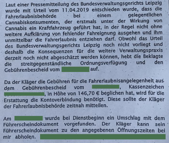 Fahren unter Cannabis-Einfluss - Erfolgreiche Klage gegen Städteregion Aachen 2019 - Rechtsanwalt Ferner Aachen: Strafrecht, Verkehrsrecht, IT-Recht