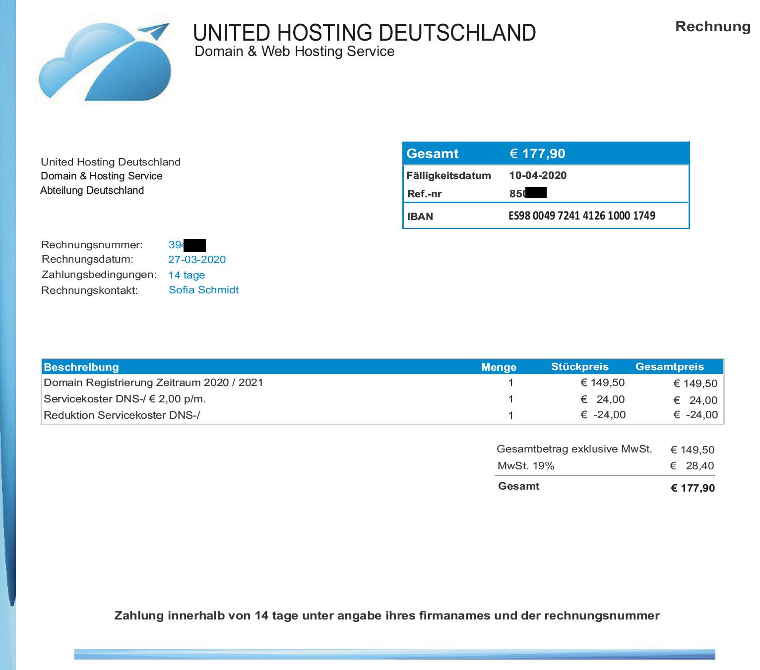 """""""Rechnung"""" von United Hosting Deutschland erhalten? - Ferner: Rechtsanwalt für Strafrecht, Verkehrsrecht, IT-Recht Aachen"""