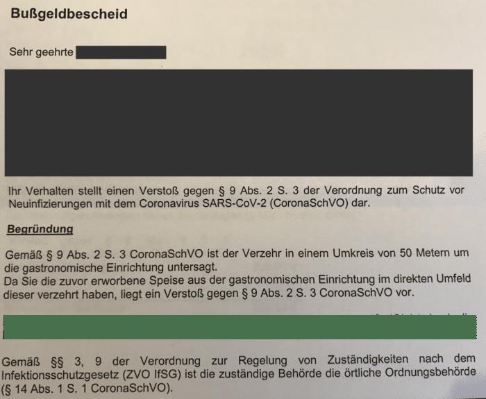 Corona-Bussgeld: Bussgeldbescheid wegen Verstoss gegen Coronaschutzverordnung NRW 2020