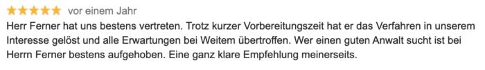 Bewertung Strafverteidiger Ferner - Bester Strafverteidiger in Aachen