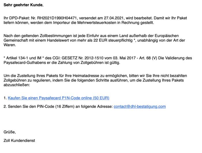 Mail von regionale Zolldirektion
