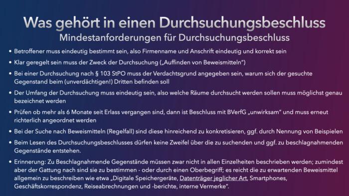 Hausdurchsuchung im IT-Betrieb - Ferner: Rechtsanwalt für Strafrecht, Verkehrsrecht, IT-Recht Aachen