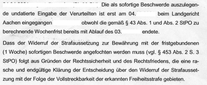 Bewährungswiderruf: Frist für Beschwerde - Ferner: Rechtsanwalt für Strafrecht, Verkehrsrecht, IT-Recht Aachen