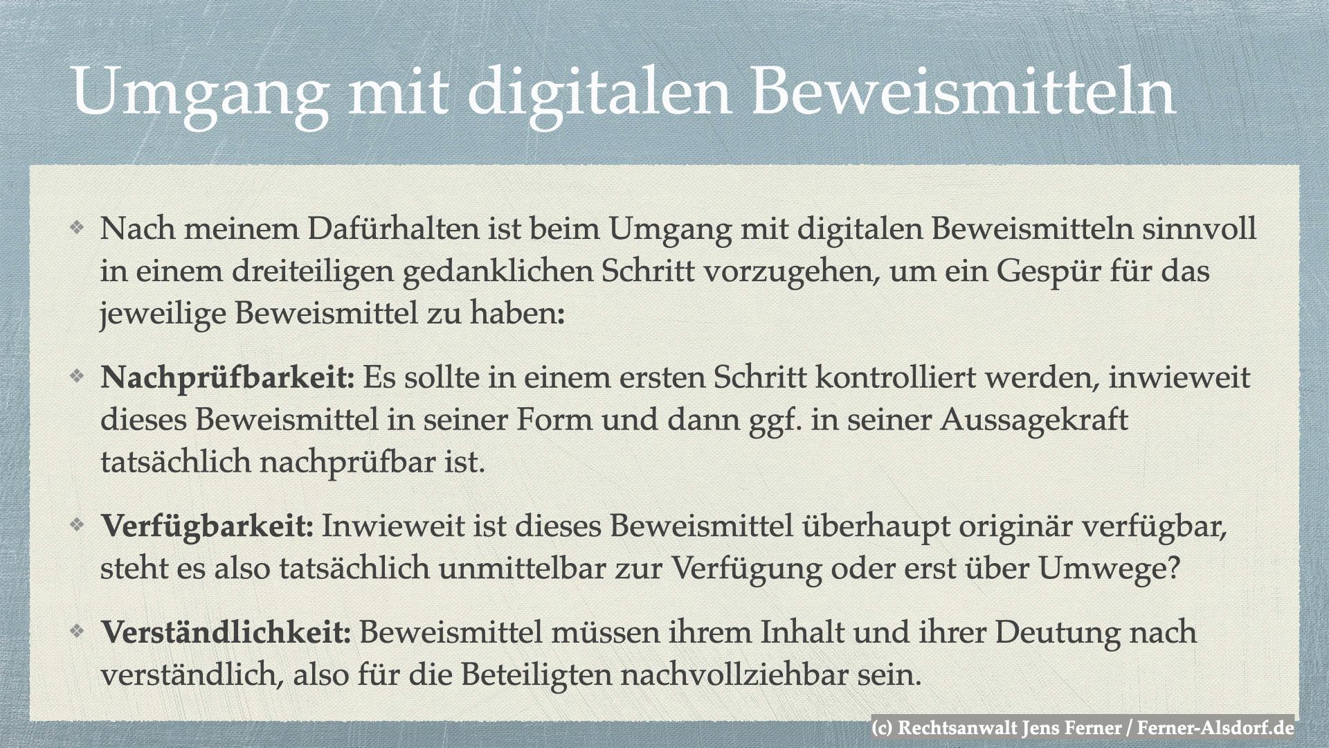 Digitale Beweismittel - Ferner: Rechtsanwalt für Strafrecht, Verkehrsrecht, IT-Recht Aachen